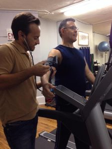 treadmill cardio training with pulse monitor